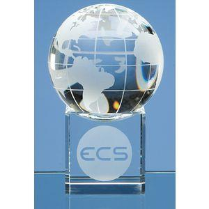 6cm Optical Crystal Globe on Clear Base