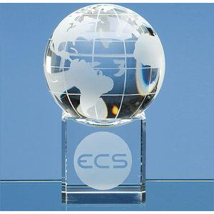 8cm Optical Crystal Globe on Clear Base