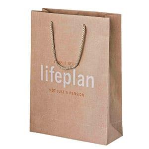 240 x 330 x 100 mm Brown Kraft Handled Paper Laminated Carrier Bag