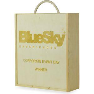 Personalised Triple Corporate Wooden Gift with Logo - 2 Lines of Text