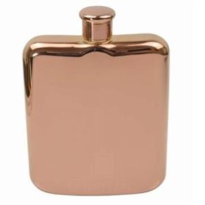 Shiny Rose Gold Hip Flask 6oz