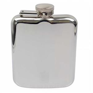 Shiny Silver Hip Flask 6oz