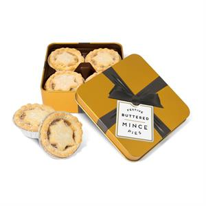 Gold Square Tin of 4 Mince Pies