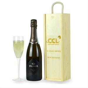 Personalised Wooden Gift Box with Prosecco