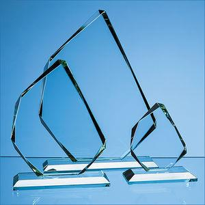 18.5cm x 15mm Jade Glass Facetted Ice Peak Award