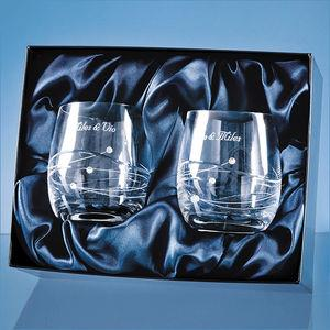 2 Diamante Whisky Tumblers