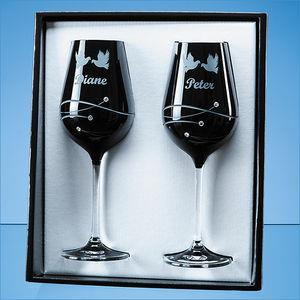 2 Onyx Black Diamante Wine Glasses